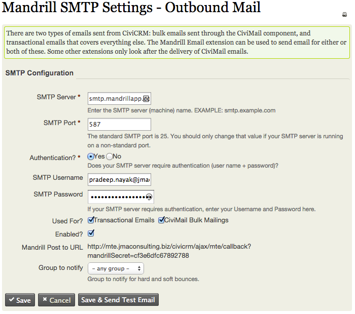 Mandrill Email | CiviCRM