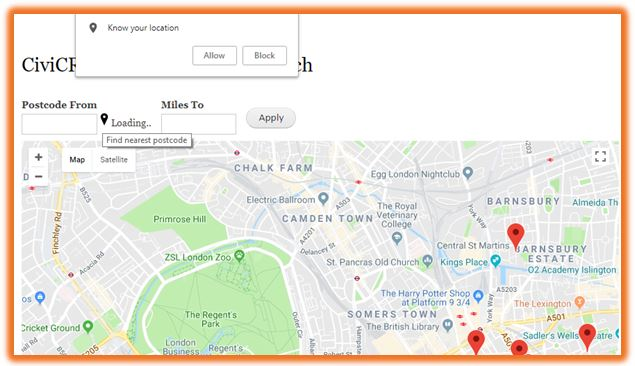 Drupal views - CiviCRM Contact Distance Search - with a map