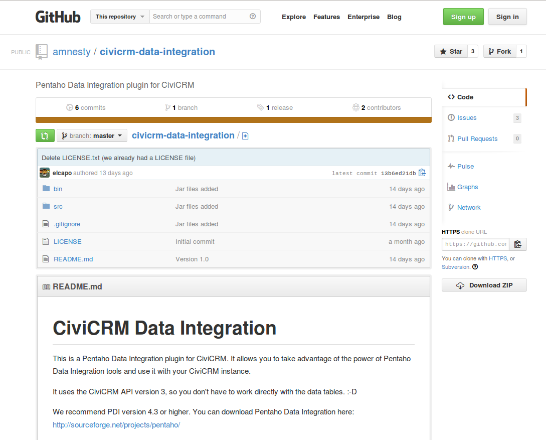 GitHub CiviCRM Data Integration project