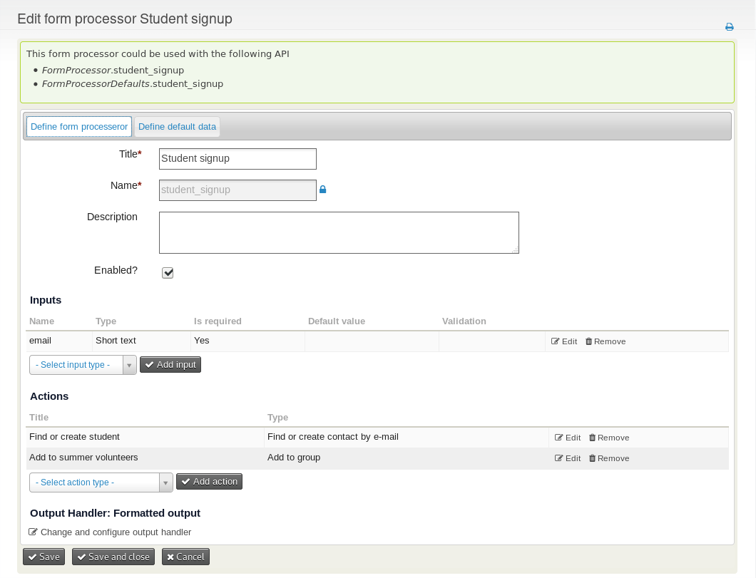 Prototype Of Form Processor And Action Provider Extension Civicrm