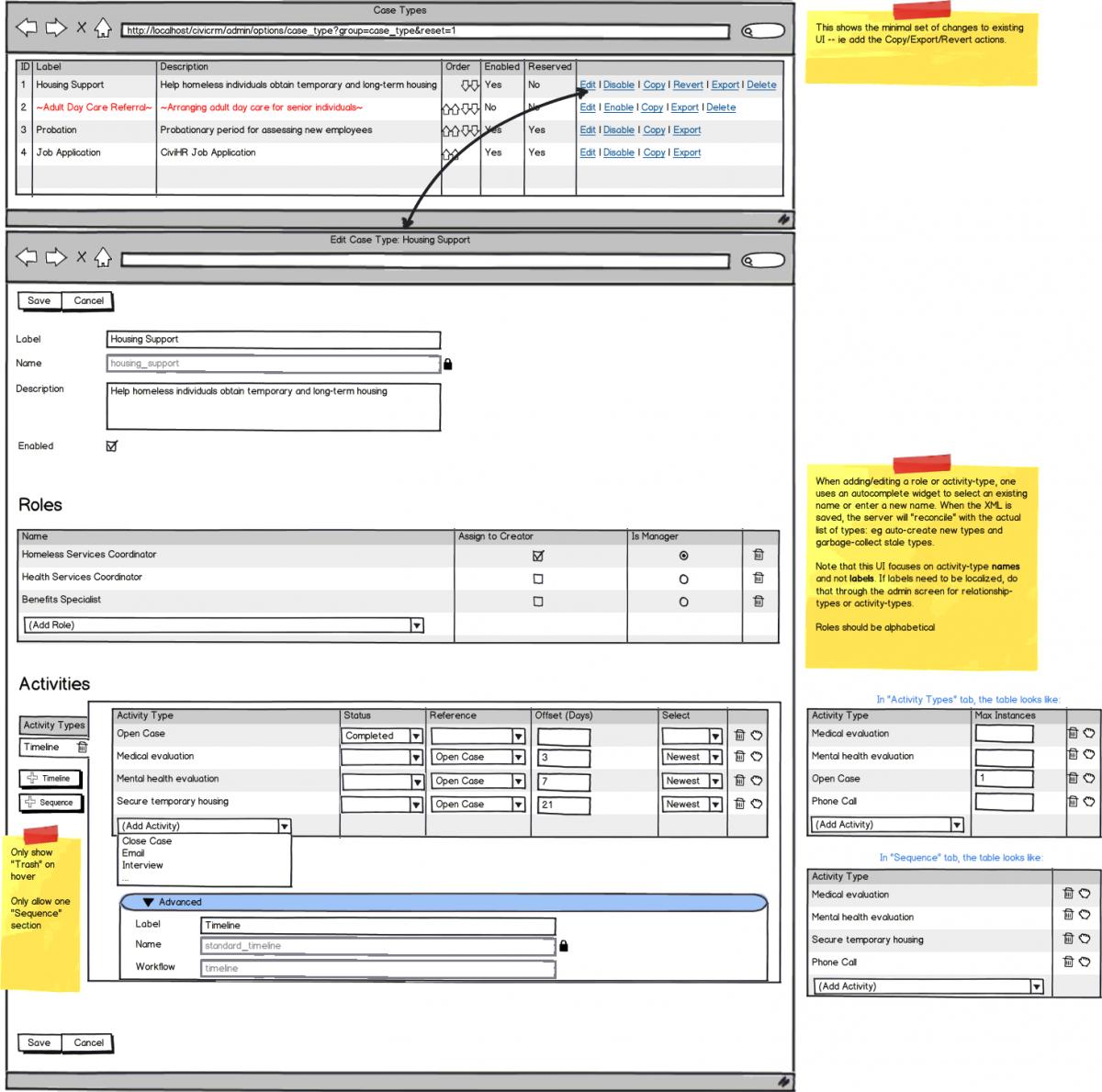 CiviCase Case Type Editor Mockup