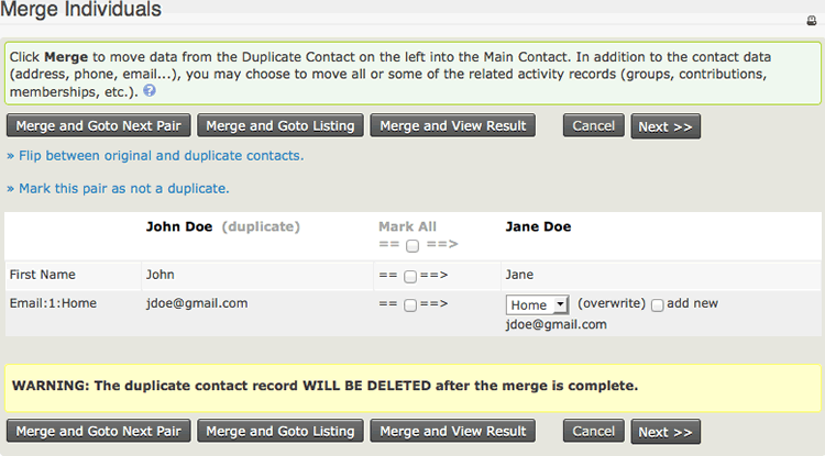 Screenshot showing the screen for merging two contacts, with a list of non-matching fields and the option to choose which field to keep the data for in each case