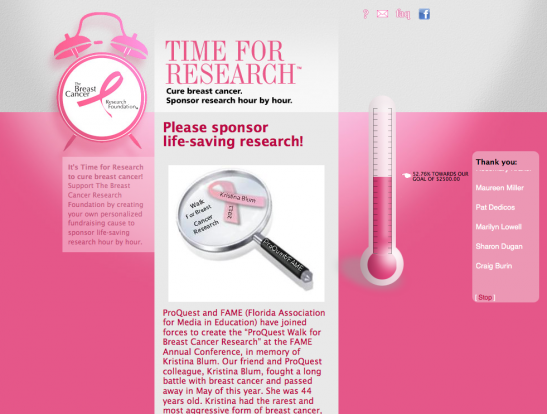 Time for Search donor page